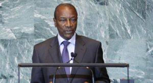 Guinea's President Alpha Conde addresses the 66th United Nations General Assembly at the U.N. headquarters, in New York, September 23, 2011. REUTERS/Chip East (UNITED STATES - Tags: POLITICS)